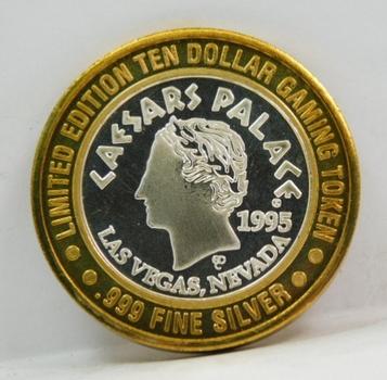 1995 Silver Strike - .999 Fine Silver - Caesar's Palace - Limited Edition $10 Gaming Token  - Las Vegas, Nevada