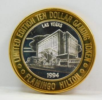 1994 Silver Strike - .999 Fine Silver - Flamingo Hilton - Limited Edition $10 Gaming Token  - Las Vegas, Nevada