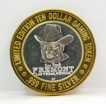 Silver Strike - .999 Fine Silver - Sam Boyd's Fremont Hotel & Casino  - Limited Edition $10 Gaming Token  - Las Vegas, Nevada