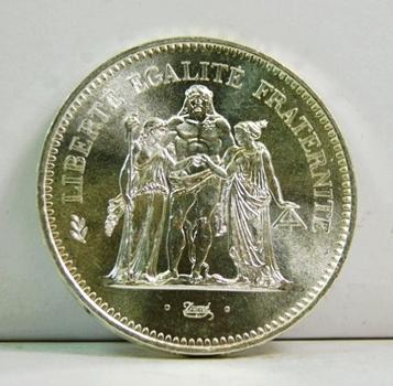 1975 France Hercules Mythology Silver 50 Francs - High Grade Brilliant Uncirculated