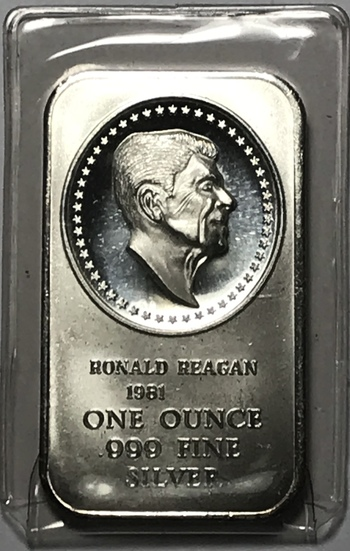 Vintage Ronald Reagan 1 oz .999 Fine Silver Commemorative Art Bar