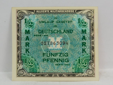 1944 Germany 1/2 Mark Crisp And Uncirculated Banknote