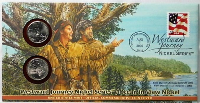 2005 P & D Ocean In View Commemorative Nickels and FDC with Stamp
