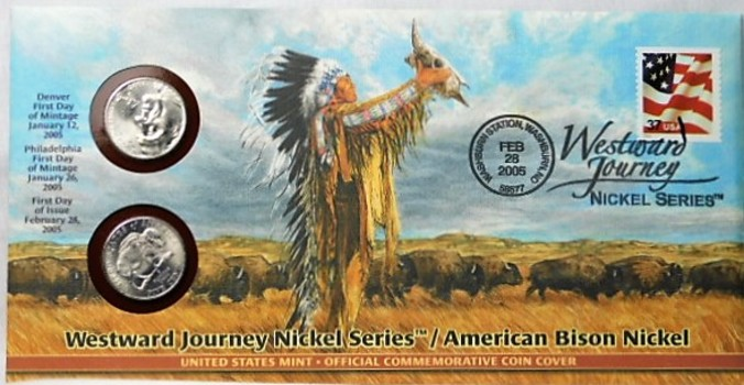 2005 P & D American Bison Nickels with FDC and Stamp