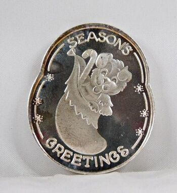 .999 Fine Silver 1 Oz. Seasons Greetings Round