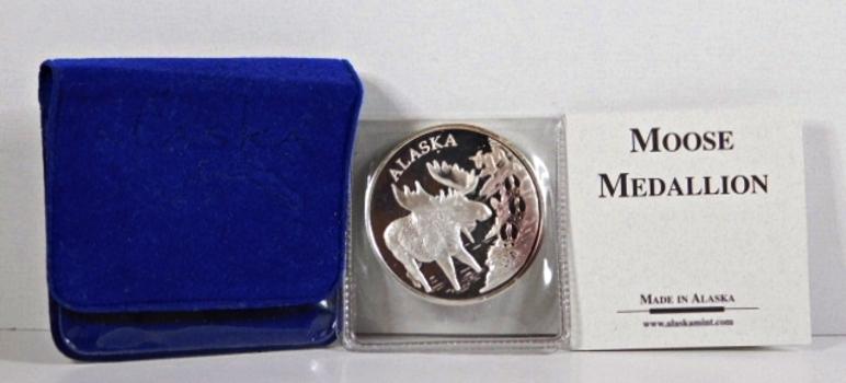 Alaska Moose Medallion*1oz .999 Fine Silver*Struck at the Alaska Mint