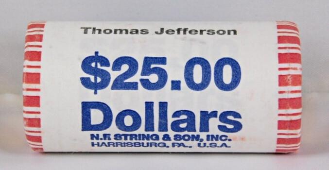 Bank Roll Of 25 Thomas Jefferson Dollars All High Grade