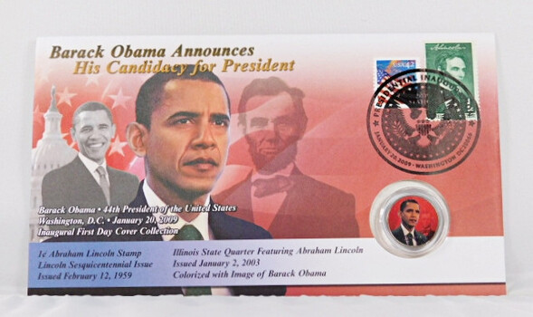 Barack Obama Announces His Candidacy For President Colorized Statehood Quarter