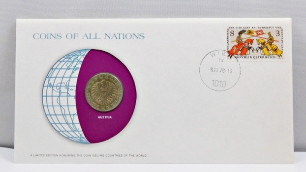 Coins of All Nations Coin Plus Stamp on FDC*1978 AUSTRIA