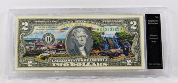 Colorized $2 Alabama Statehood Commemorative Note*Authenticated as Uncirculated and In Custom Protective Holder