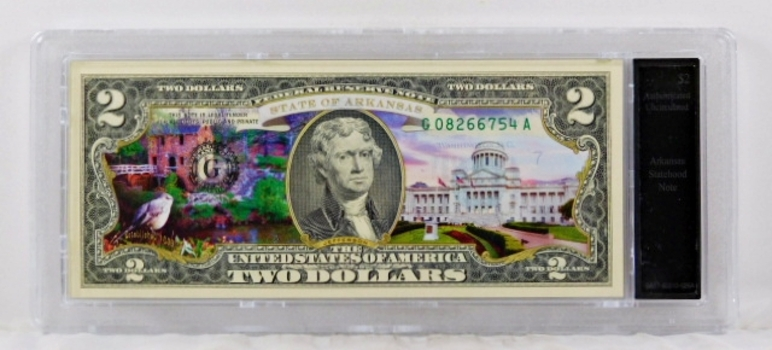 Colorized $2 Arkansas Statehood Commemorative Federal Reserve Note*Authenticated Uncirculated in Custom Holder