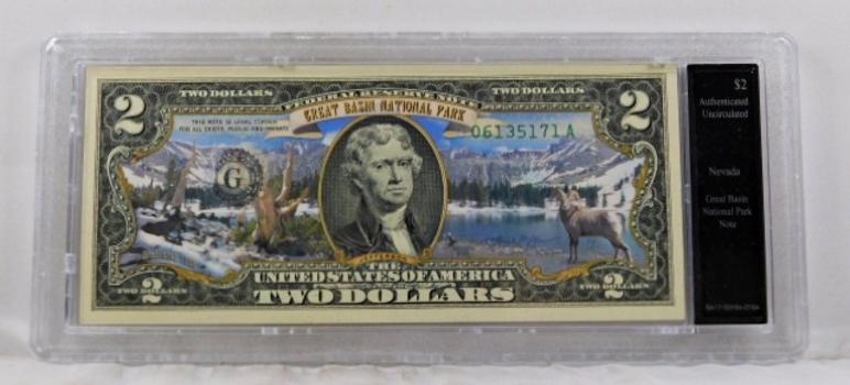 Colorized $2 Commemorative Federal Reserve Note*Great Basin Park, Nevada*In Custom Holder