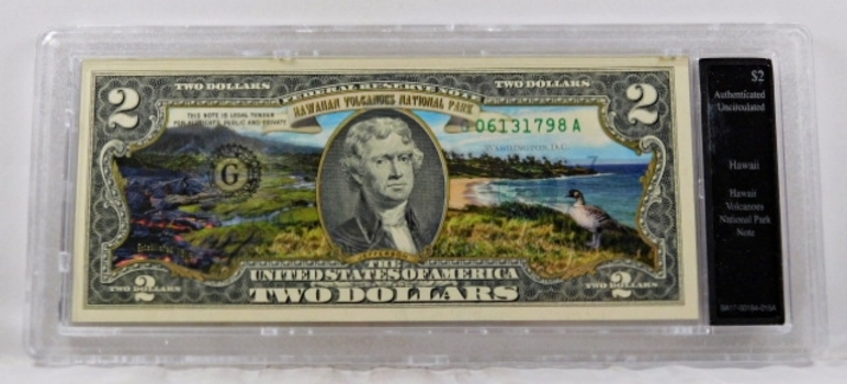 Colorized $2 Commemorative Federal Reserve Note*Hawaii Volcanoes, Hawaii*In Custom Holder