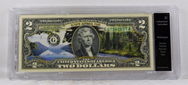 Colorized $2 Commemorative Federal Reserve Note*Olympic Park, Washington*In Custom Holder