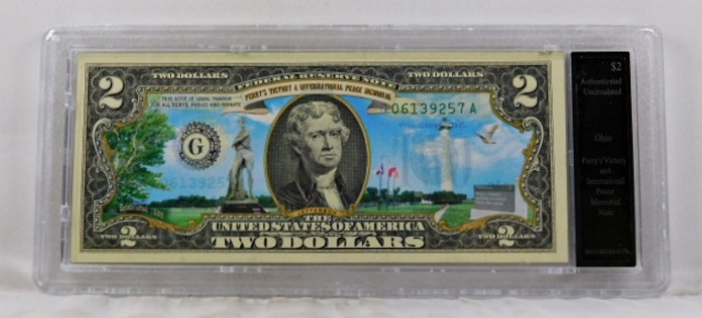 Colorized $2 Commemorative Federal Reserve Note*Perry's Victory Memorial, Ohio*In Custom Holder