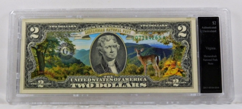 Colorized $2 Commemorative Federal Reserve Note*Shenandoah Park, Virginia*In Custom Holder
