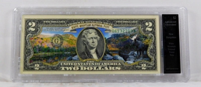 Colorized $2 Commemorative Federal Reserve Note*White Mountain Forest, New Hampshire*In Custom Holder