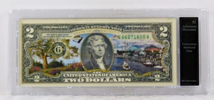 Colorized $2 Connecticut Statehood Commemorative Federal Reserve Note*Authenticated Uncirculated in Custom Holder