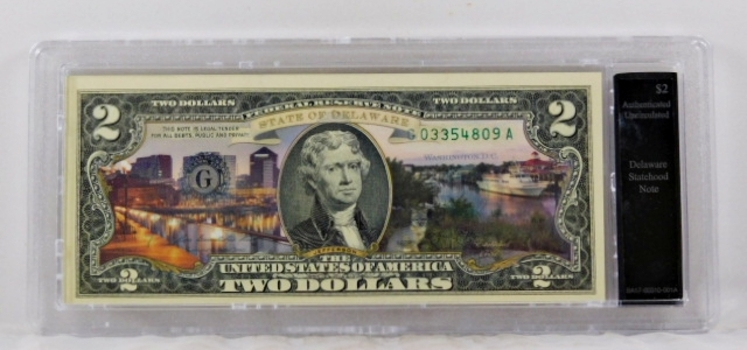 Colorized $2 Delaware Statehood Commemorative Federal Reserve Note*Authenticated Uncirculated in Custom Holder