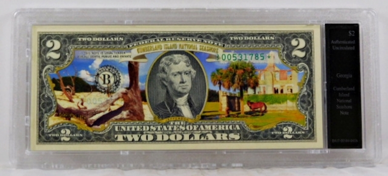 Colorized $2 Federal Reserve Note Commemorative of Cumberland Island, Georgia*In Custom Protective Holder*Uncirculated