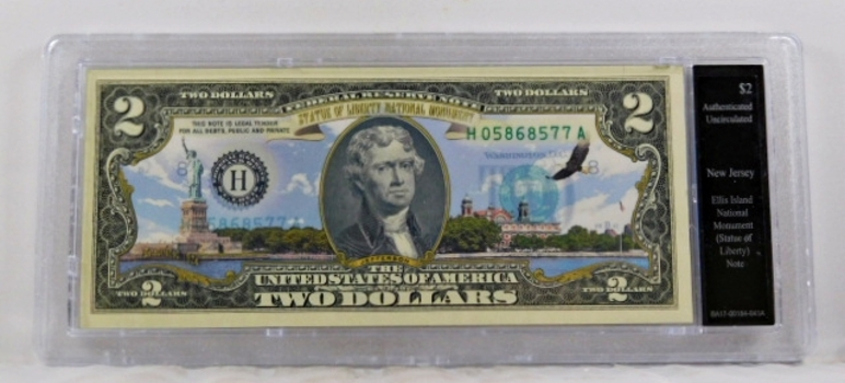 Colorized $2 Federal Reserve Note Commemorative of Ellis Island, New Jersey*In Custom Protective Holder*Uncirculated