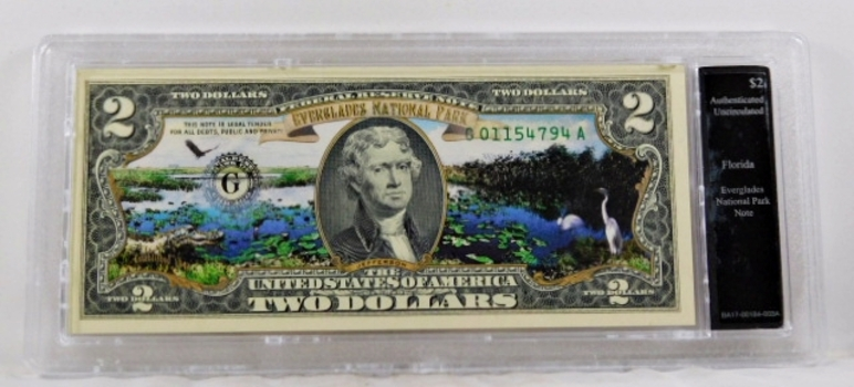 Colorized $2 Federal Reserve Note Commemorative of Everglades Florida*In Custom Protective Holder*Uncirculated