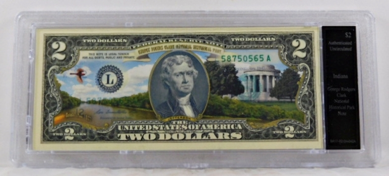 Colorized $2 Federal Reserve Note Commemorative of George Rodgers Park, Indiana*In Custom Protective Holder*Uncirculated