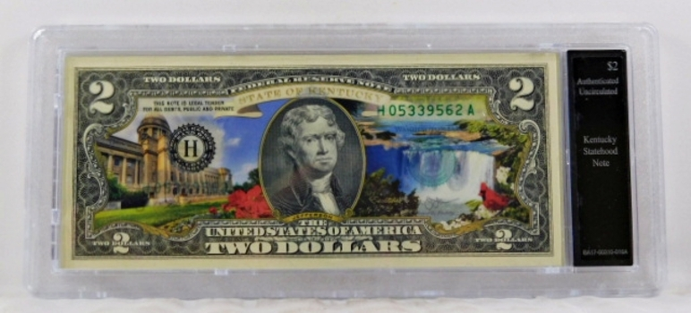 Colorized $2 Federal Reserve Note Commemorative of Kentucky Statehood*In Custom Protective Holder*Uncirculated