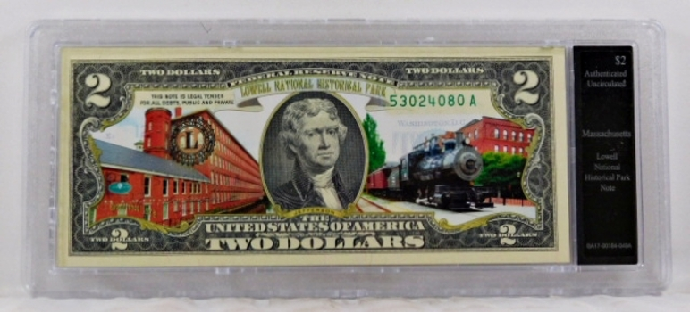 Colorized $2 Federal Reserve Note Commemorative of Lowell Park, Massachusetts*In Custom Protective Holder*Uncirculated