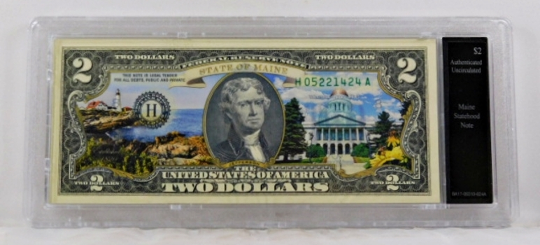 Colorized $2 Federal Reserve Note Commemorative of Maine Statehood*In Custom Protective Holder*Uncirculated