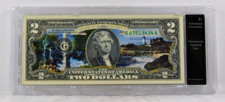 Colorized $2 Federal Reserve Note Commemorative of Massachusetts Statehood*In Custom Protective Holder*Uncirculated