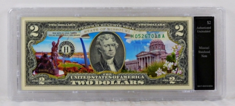 Colorized $2 Federal Reserve Note Commemorative of Missouri Statehood*In Custom Protective Holder*Uncirculated