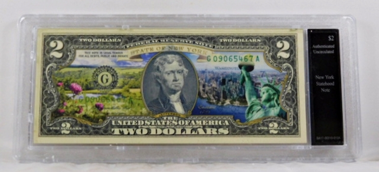 Colorized $2 Federal Reserve Note Commemorative of New York Statehood*In Custom Protective Holder*Uncirculated