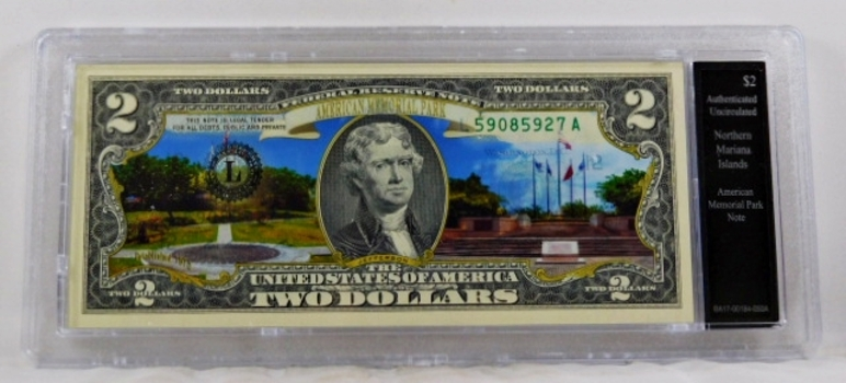 Colorized $2 Federal Reserve Note Commemorative of Northern Mariana Islands*In Custom Protective Holder*Uncirculated