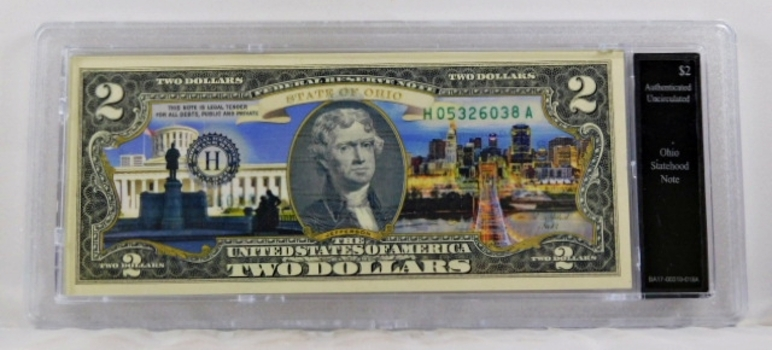 Colorized $2 Federal Reserve Note Commemorative of Ohio Statehood*In Custom Protective Holder*Uncirculated