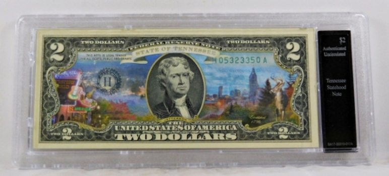 Colorized $2 Federal Reserve Note Commemorative of Tennessee Statehood*In Custom Protective Holder*Uncirculated
