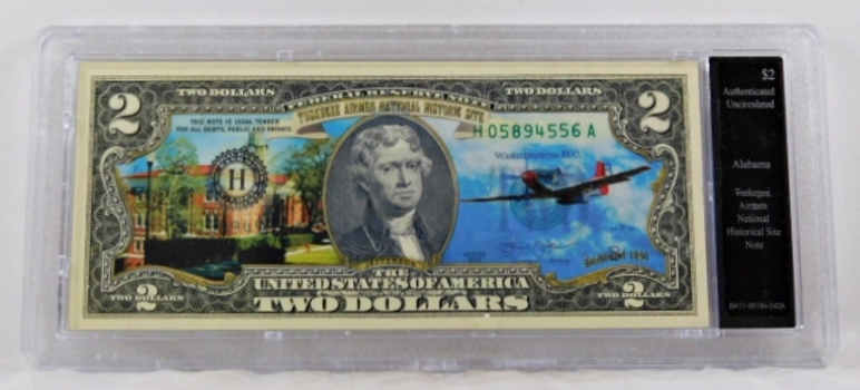 Colorized $2 Federal Reserve Note Commemorative of Tuskegee Airman Site, Alabama*In Custom Protective Holder*Uncirculated