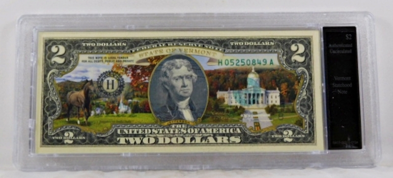 Colorized $2 Federal Reserve Note Commemorative of Vermont Statehood*In Custom Protective Holder*Uncirculated