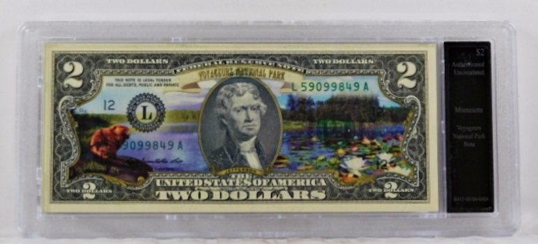 Colorized $2 Federal Reserve Note Commemorative of Voyageur Park, Minnesota*In Custom Protective Holder*Uncirculated