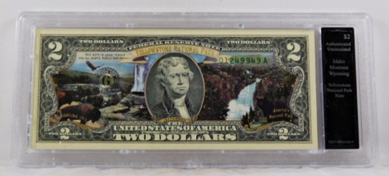 Colorized $2 Federal Reserve Note Commemorative of Yellowstone National Park*In Custom Protective Holder*Uncirculated