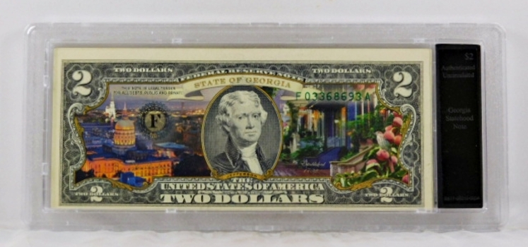 Colorized $2 Georgia Statehood Commemorative Federal Reserve Note*Authenticated Uncirculated in Custom Holder