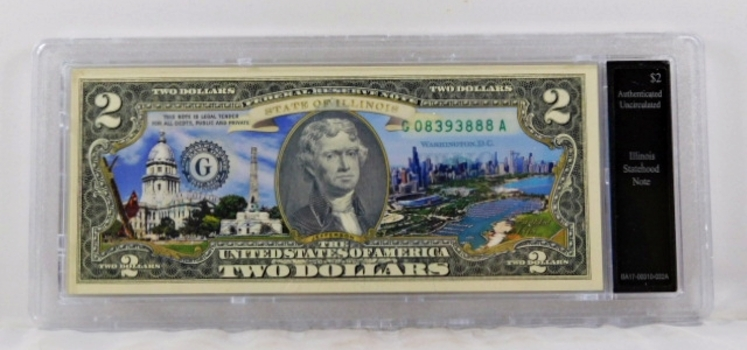 Colorized $2 Illinois Statehood Commemorative Note*Authenticated as Uncirculated and In Custom Protective Holder