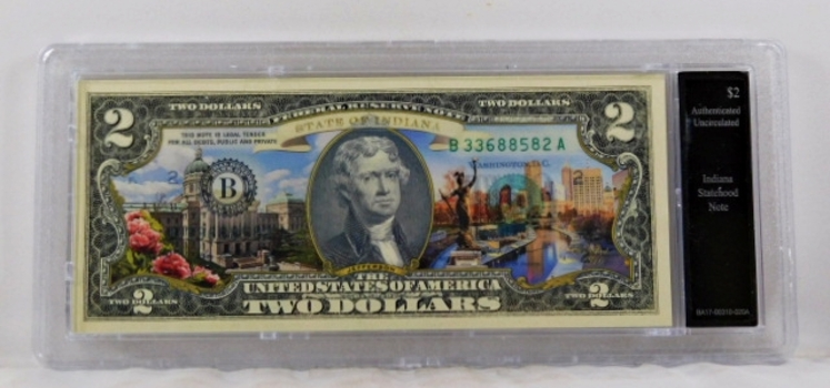 Colorized $2 Indiana Statehood Commemorative Note*Authenticated as Uncirculated and In Custom Protective Holder