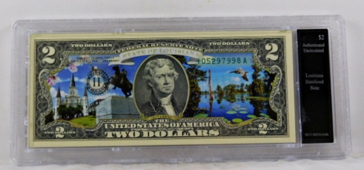 Colorized $2 Louisiana Statehood Commemorative Note*Authenticated as Uncirculated and In Custom Protective Holder