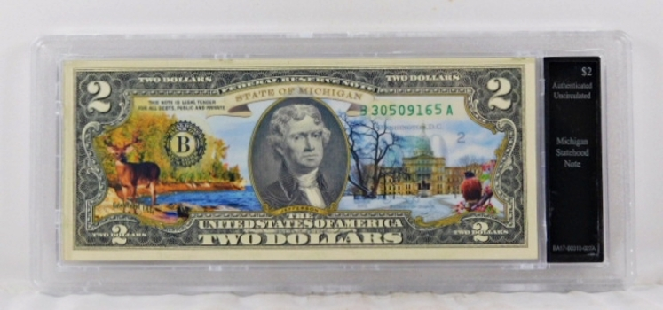 Colorized $2 Michigan Statehood Commemorative Federal Reserve Note*Authenticated Uncirculated in Custom Holder