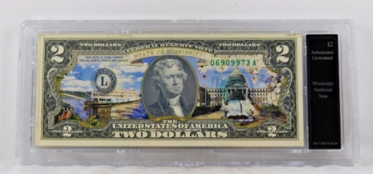 Colorized $2 Mississippi Statehood Commemorative Note*Authenticated as Uncirculated and In Custom Protective Holder