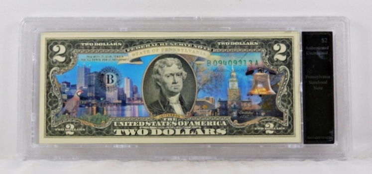 Colorized $2 Pennsylvania Statehood Commemorative Federal Reserve Note*Authenticated Uncirculated in Custom Holder