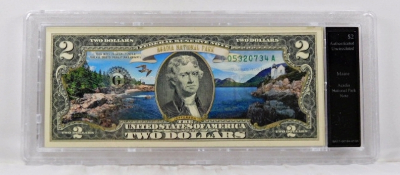 Colorized Federal Reserve $2 Note Commemorating Acadia National Park, Maine*In Custom Protective Holder