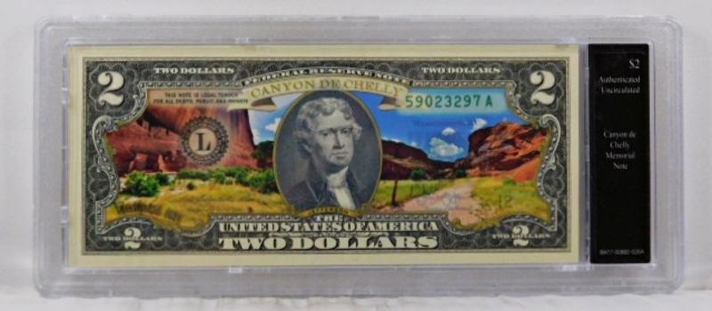 Colorized Federal Reserve $2 Note Commemorating Canyon de Chelly Memorial*In Custom Protective Holder