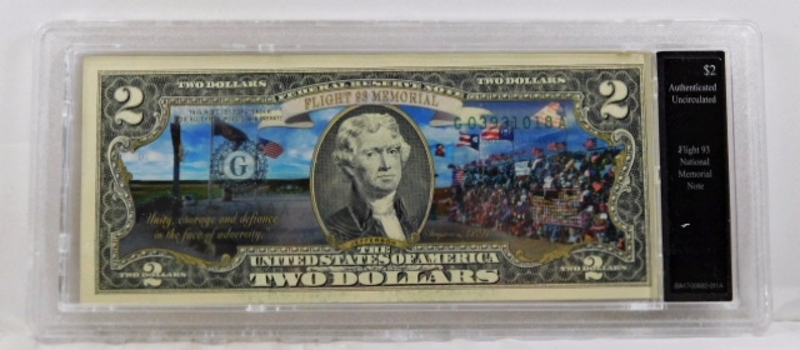 Colorized Federal Reserve $2 Note Commemorating Flight 93 National Memorial*In Custom Protective Holder